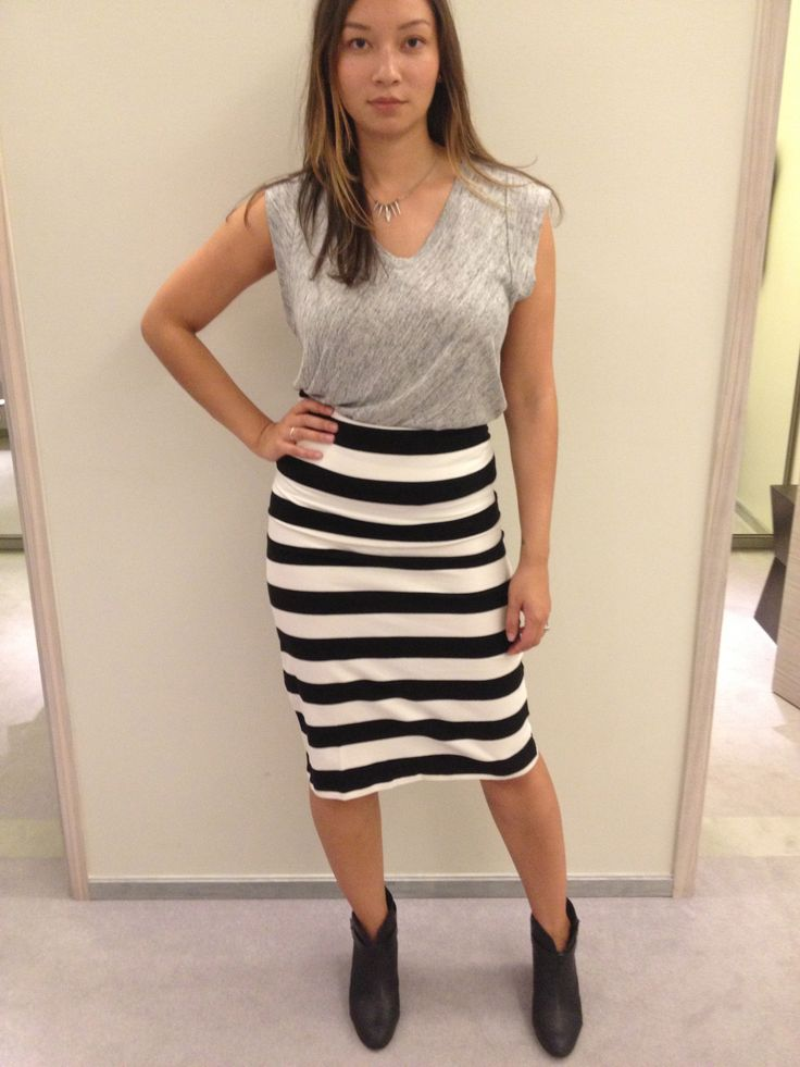 Pencil skirt and tee shirt, tucked in, booties.. I think we could do graphic, striped, or bright coloured skirts.. Skirt, H $20