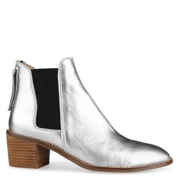 Shoe Connection - Miss Sofie - Winston Silver Leather Ankle Boots ...