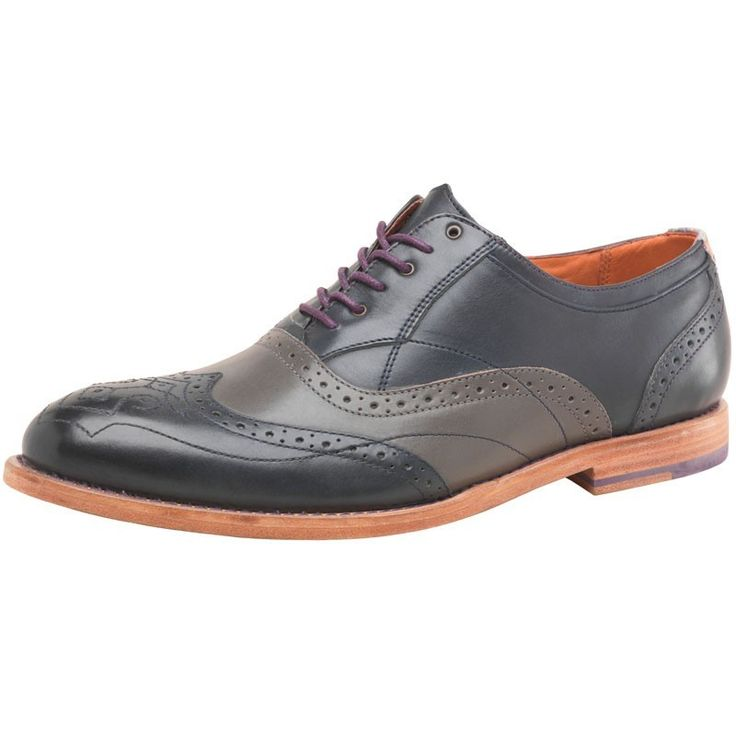 Ted Baker Mens Brogue Shoes Dark Blue/Grey | eBay