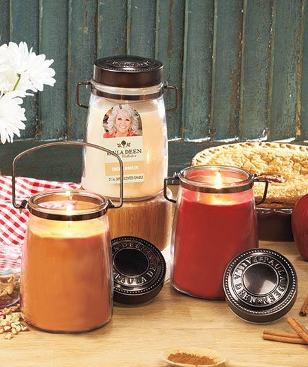 "Paula Deen Scented Jar Candles are based on popular recipes of this celebrity chef. Each 21-oz. candle comes in a glass jar with a metal handle and a lid embossed with Paula Deen's name. 6-1/2"" x 4"" dia. with 90 hours of burn time."