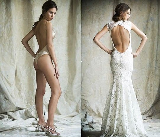 if you ever wondered how brides can get support in backless wedding gowns :)