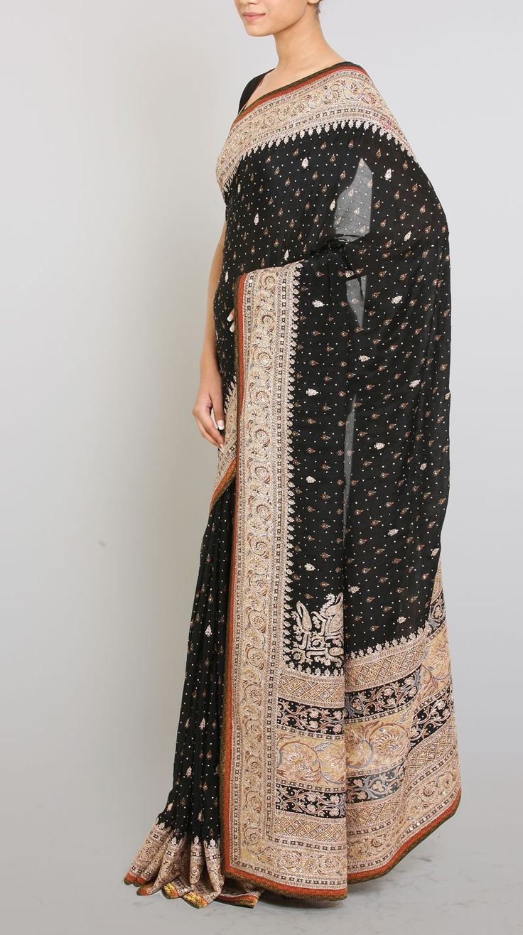 Suraj K Black Sari - Saris