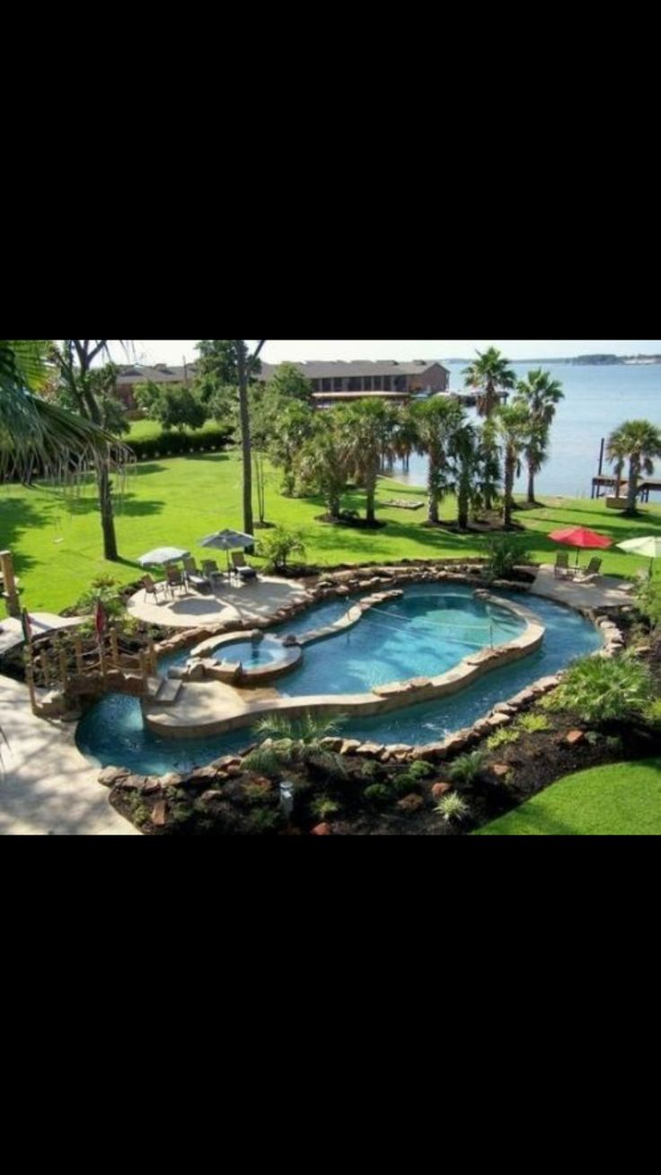 Let us help you create your perfect backyard oasis.  #lazyriver #spa #bridge #extremepool