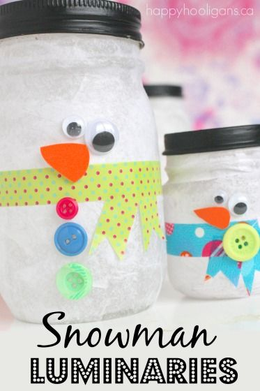 Check out the adorable Snowman Jar Tea Light Luminaries that we made recently! Aren't they just adorable?