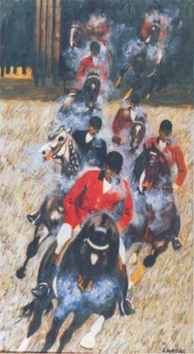 Ludwik Maciąg: Zaparowane konie, akryl/olej-płótno, 150x71, wł. prywatna