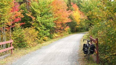 vélo sur sentier en automne - P'tit train du Nord
