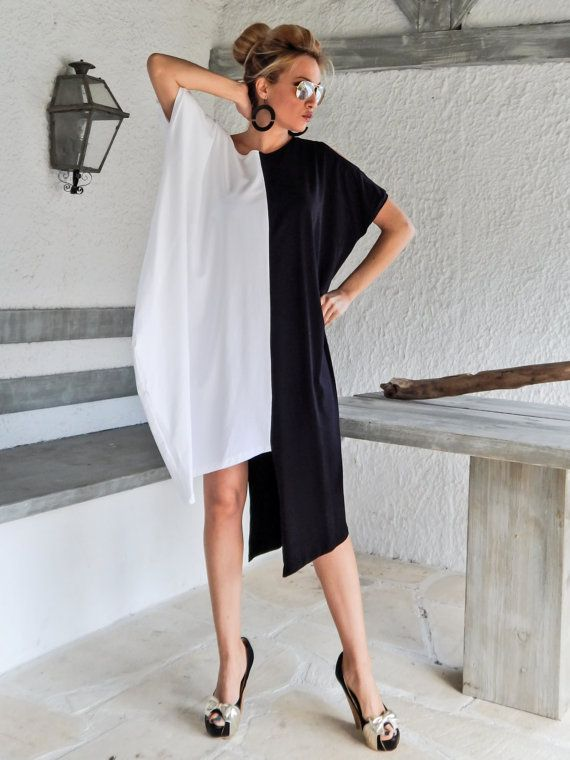 Black & White Dress Tunic / Black White Dress / Asymmetric Plus Size Dress / Oversize Loose Dress / #35070  This elegant and comfortable dress -