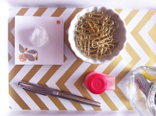 DIY Gold Chevron Desk Tray (inspired by Kate Spade)