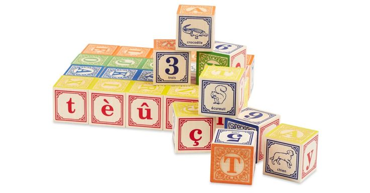 The French language set definitely has a certain je ne sais quoi. The28 block set includes two complete alphabets, numerals, and animal pictures. Each block is crafted from sustainable Michigan...