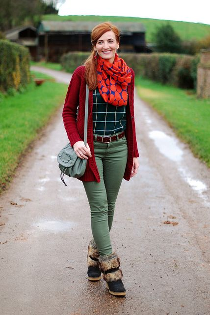 Red cardigan, orange polka dot scarf & khaki skinnies by Not Dressed As Lamb, via Flickr