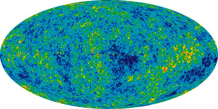 The Cosmic Microwave Background temperature fluctuations from the 7-year Wilkinson Microwave Anisotropy Probe data seen over the full sky in a mollweide projection of the temperature variations over the celestial sphere.The average temperature is 2.725 Kelvin (degrees above absolute zero; absolute zero is equivalent to -273.15 C or -459 F), and the colors represent the tiny temperature fluctuations, as in a weather map. Red regions are warmer and blue regions are colder by about 0.0002…