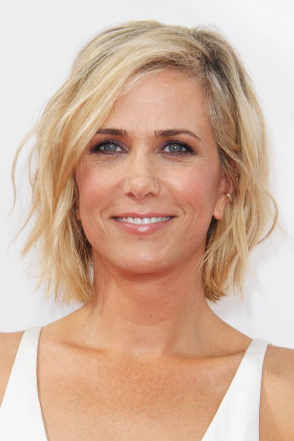 Kristen Wiig's piece-y 'do is great for naturally wavy hair. It's the kind of style that looks great messy — the more texture, the better.