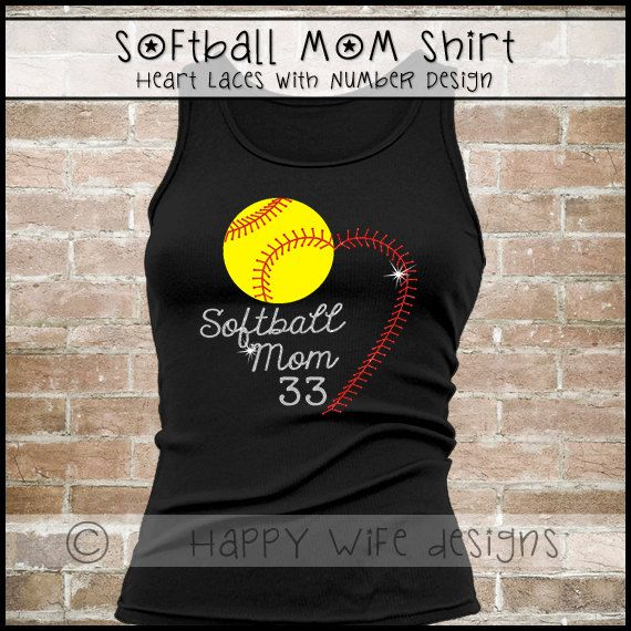 Softball Mom Tank Top or Shirt  Heart Laces with Player Number by HappyWifeDesigns