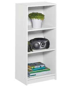 Maine Half Width Small Extra Deep Bookcase - White.