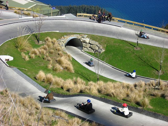 The Skyline Luge at the top of the Queenstown Gondola - a must do activity for all ages!