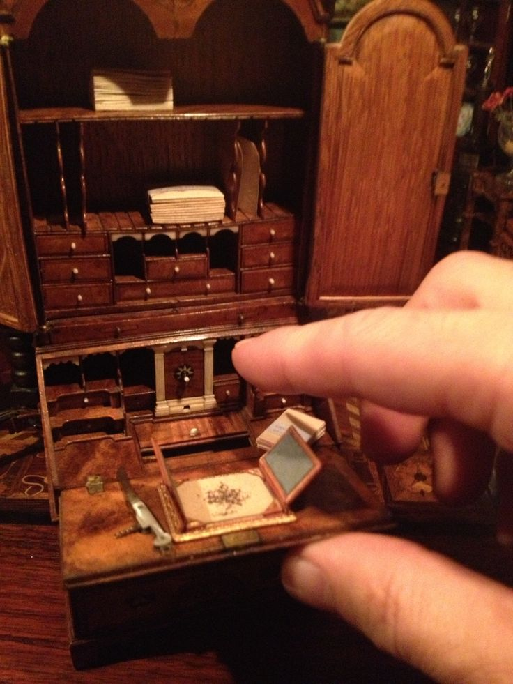 Queen Anne Desk >> Dollhouse miniature Queen Anne desk. Love the tiny compartments for paperwork especially the ...