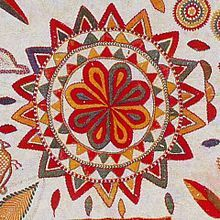 Lotus motif from a nakshi kantha, which is a type of embroidered quilt that is a centuries-old Bengali art tradition in Bangladesh: https://en.wikipedia.org/wiki/Nakshi_kantha