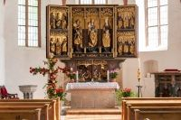 Master of the Thammenhain Madonna (attributed by W. Hentschel), shrine of the winged altar of St. Nikolai church, Zschortau (near Delitzsch), Altar Dorfkirche Zschortau ©D.Senf