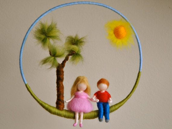 Children mobile Waldorf inspired needle felted nursery decoration: Girl  and boy via Etsy