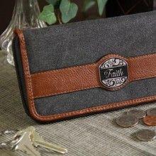 Checkbook Wallet -Faith<BR>  Black & Tan