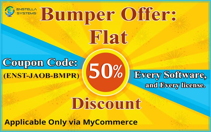 Now this year January 2017, Enstella delivers Flat 50% discount offers on all its manufactured products and on their license also….so this is big mega offer you can get this offer only by apply Coupon Code : - (ENST-JAOB-BMPR) that applicable only with MyCommerce gateway. This offer valid till 28st Feb 2017 midnight. So, Instant come of this web-link:- http://www.enstella.com/bumper-offer.html