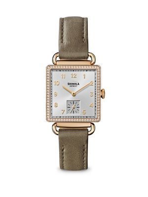 SHINOLA The Cass Diamond, Mother-Of-Pearl & Goldtone Stainless Steel Leather Strap Watch. #shinola #watch