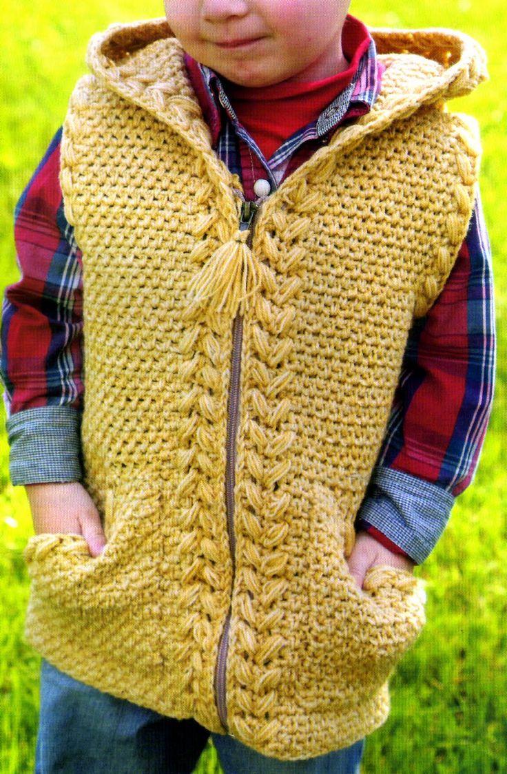tejidos artesanales en crochet: chaleco para niño tejido en crochet con detalles e...