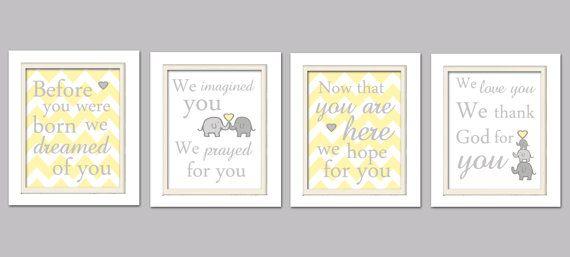 Nursery Quad Yellow and Gray Nursery Elephant by ChicWallArt, $37.00
