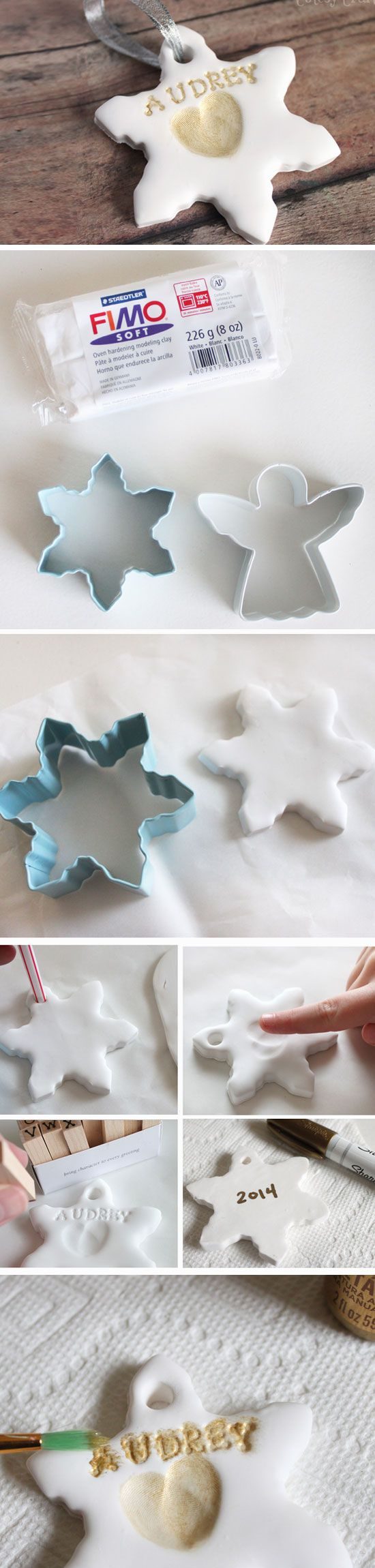 Fingerprint Snowflakes | Click Pic for 23 DIY Christmas Ornaments for Kids to Make | DIY Christmas Crafts for Kids to Make