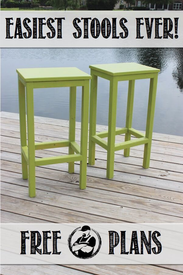 Free DIY step-by-step plans to build the easiest bar stools ever. No woodworking experience required.