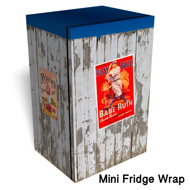 Vintage Baseball Posters Worn Fence Mini Fridge Wrap