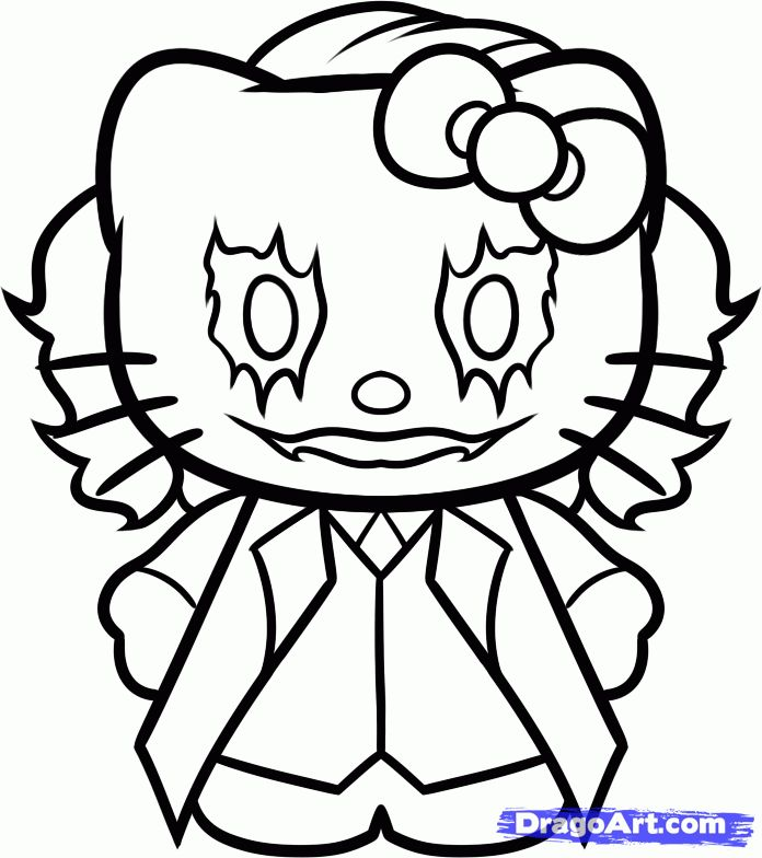 how to draw hello kitty joker step by step characters pop