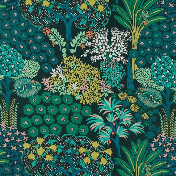 Emerald Green Scenic Upholstery Drapery Fabric By The Yard