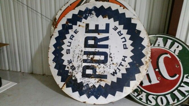 On ebay Pure porcelain double sided original gas sign