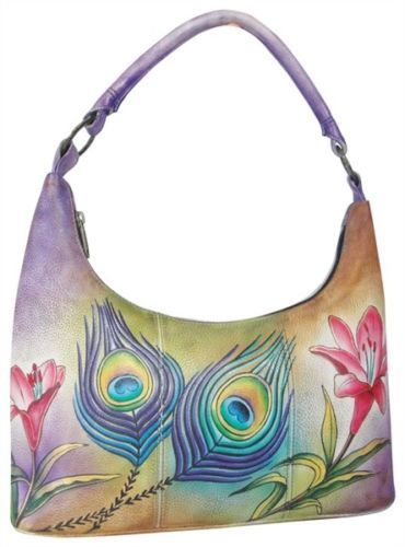 64d0d39b4a36 Anuschka-Medium-Top-Zip-Hobo-Handbag-Purse-Peacock-Flower  hobohandbags