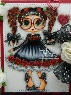 Mabel Rose with Balloon Bestie close-up by Leah Ann Gast.... see entire card in her blog post