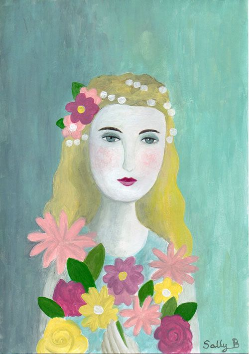 Portrait fille fleur Naive rétro Art Wall Art mignon Naive Portrait Flower Girl Wimsical Cute