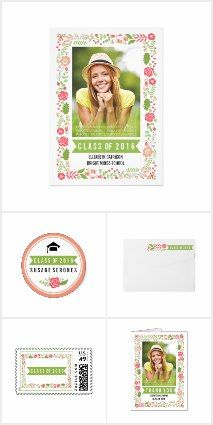 MODERN Class of 2016 #graduation floral border photo #invitations collection in several colors!