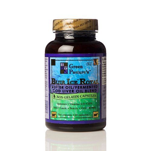 """Blue Ice Royal Butter Oil / Fermented Cod Liver Oil Blend - Capsules by Green Pastures. $63.49. Dr. Weston A. Price discovered High Vitamin Butter Oil in the 1930's. The pinnacle of his X-Factor discovery was the extreme synergistic effect between High Vitamin Butter Oil and traditional cod liver oil. """"One without the other did not do his patients justice, but the two together worked like magic"""".  X-Factor GoldTM High Vitamin Butter Oil is made from dairy oil extracted ..."""