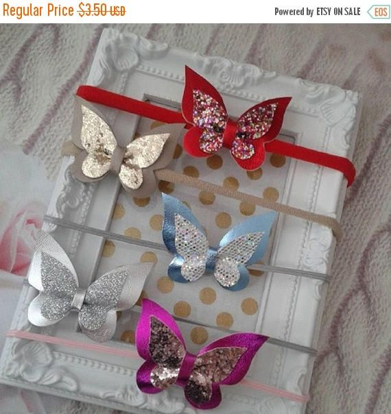 ON SALE Leather Glitter Sparkle Butterfly Hair Bow Pink Glitter Clip Handmade Headband Baby Photo Prop Mini Hair Bows