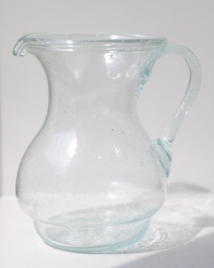 Beautiful glass carafe made of recycled glass in Egypt.