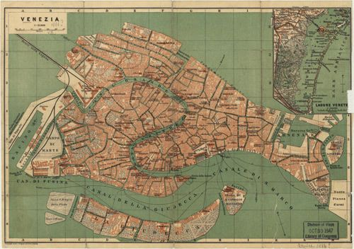 This gorgeous map of Venice, Italy was originally produced in 1886 by Wagner and Debes. Description from worldmapsonline.com. I searched for this on bing.com/images
