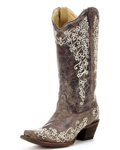 Women's Brown Crater Bone Embroidery Boot - A1094 - beautiful!! Would be perfect for a country wedding!!!