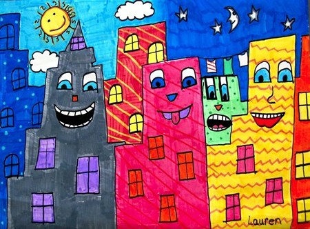 James Rizzi Cityscape....thinkin 3rd grade would love this....