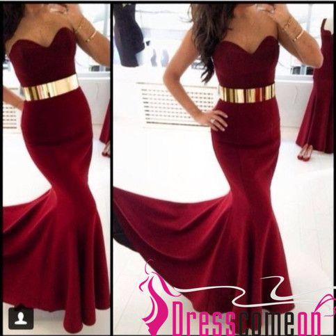 $125 Charming Sweetheart Sexy Mermaid Sleeveless Burgundy Satin Long Evening Dress,Burgundy Prom Dress,Party Dress BON21