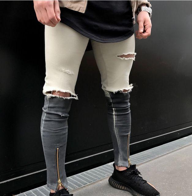 2017 NOUVEAU Ripped Denim Pantalon Genou Trou Zipper Biker