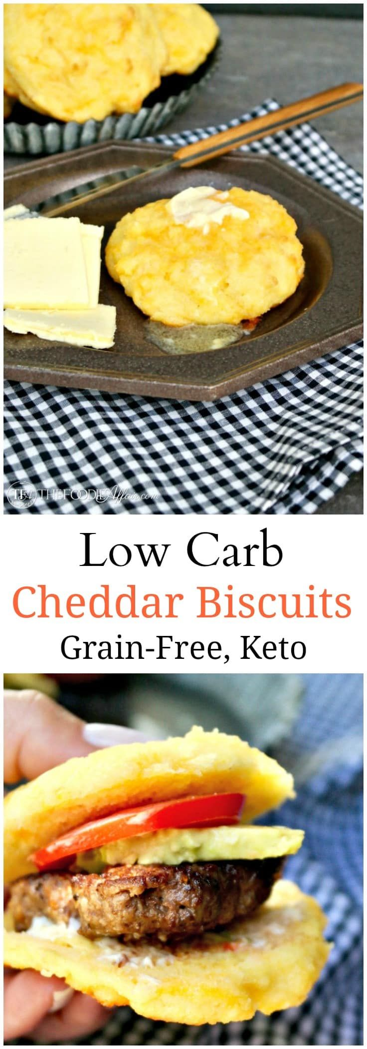Simple tender low carb cheddar biscuits are grain and sugar free. Enjoy with a pat of butter or split in half and add your favorite filling!