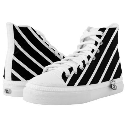 #Abstract geometric pattern - black and white. High-Top sneakers - #womens #shoes #womensshoes #custom #cool
