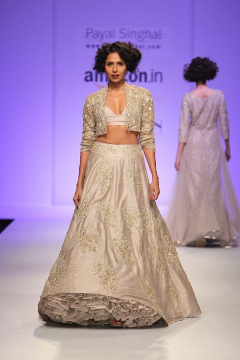 Payal Singhal | silk embroidered lehenga in stone grey | Best of #AmazonIndiaFashionWeek Autumn Winter 2015 | thedelhibride Indian weddings blog