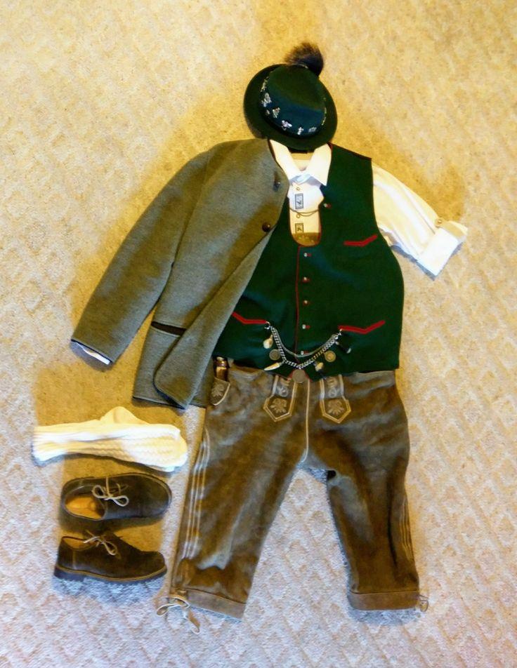 Oktoberfest Trachten Bavarian boiled wool cardigan, Prien vest, 100% cotton shirt with Edelweiss embroidery, Goat skin Kniebundhosen, Alpine hat with pins and gamsbart, Haferl shoes & knee length socks, Charivari & Jagdmesser.